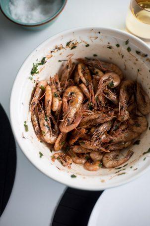 Croatian food Panfried Prawns