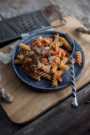 pasta with tomato sauce and prawns